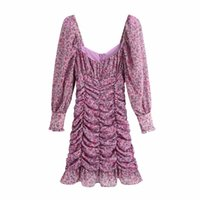 Women Floral Printing Chiffon Pleated Dress Femme Lantern Sleeve Slim Clothes Casual Lady Vestido D6587 A0608