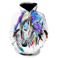 Men's Hoodies & Sweatshirts 2021 Sweatshirt Women's 3D Hoodie Printed Brown Horse Animal Pattern Pullover Unisex Casual Creative Oversized C