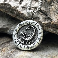 12 Constellation Collana in acciaio in acciaio Gothic Sign Zodiac Pendente Leo Virgo Libra Scorpione Capricorno Gioielli per gli uomini Donne