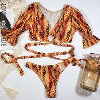 LOVE LIMONNADE V-Col V-Court Naturel Imprimer Naturel Bandage Bikini LMSW07