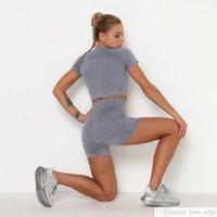 Roupas de ioga correndo esportes de manga curta de duas peças sem costura de malha de malha alta cintura slim shorts terno yoga roupas mulheres yoga setsoccer jersey