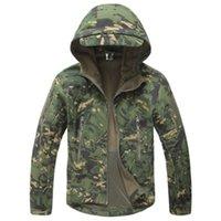 망 기어 상어 피부 두건이 부드러운 껍질 전술 군사 품질 자켓 남성 방수 겨울 양털 코트 육군 산 위장 재킷