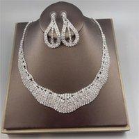 Earrings & Necklace Wedding Jewelry Set For Women Bridal Accessories Earring Rhinestone Fine Jewellery High Quality