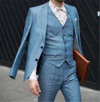 Men's Suits & Blazers 2021 Coat Pant Design Blue Linen Men Suit Casual Groomsman Wedding Tuxedo Custom Slim Fit Skinny Blazer Pants Set