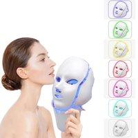 Estoque nos EUA 7 Cor da pele Rejuvenescimento Therapy Face Máquina de Beleza LED Facial Neck Mask com dispositivo Spa Spa Acne Remover Tratamento