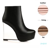 WETKISS Transparent Heels Shoes 2020 New Arrival Women Ankle Boots Round toe Side Zip Platform Fashion Boots Women Wedges Shoes ---u