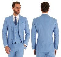 Classic Sky Blue Groom Tuxedos Mens Wedding Suits Notch Lapel Trim Fit Groomsman Man Evening Prom Party Wear Jacket Blazer 3 Piece (Jacket+Pants+Vest)