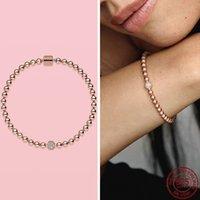 925 prata esterlina rosa grânulos de ouro pulsera para mulheres aniversário ajuste original pandora pulseira jóias