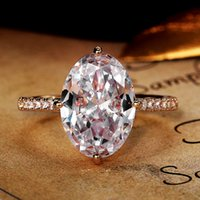 Luxury Silver Gold Plated Huge Horse Eye White Zircon Ring Exquisite Finger Rings For Women Wedding Engagement Jewelry Gift