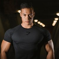 Gym summer sports short sleeve men's elastic round neck quick drying tights sweat wicking casual running fitness T-shirt