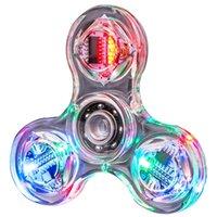 Fidget Brinquedos Led Fingertip Giroscópio Transparente Colorido Decompression Light Fidget Spinner Hand Top Spinners Brilho em Brinquedos de Crianças Escuras
