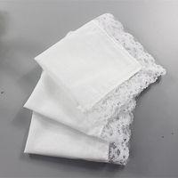New25cm branco laço fino lenço de algodão toalha mulher casamento presente partido decoração pano guardanapo diy liso liso ewb6778