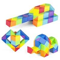 Fidget oyuncaklar yılan cetvel bulmaca 24/36/48/60/72 hız antistress küp büküm eğitici oyuncak çocuklar çocuk renk katlanır sihirli küpler hediyeler