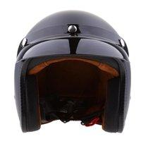 Motorcycle Helmets Matte Black Retro Universal 3 4 Open Face Helmet W  Sun Visor S M L XL