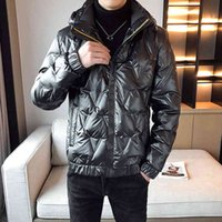 Men's Down & Parkas winter jacket, jacket with a fashion hood, ultra light, , solid, bright, wind-proof hat, male parkas, outdoor clothing FH6C