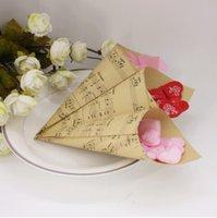 الإبداعية البني الموسيقية الملاحظات diy الزفاف تفضل كرافت ورقة المخاريط صناديق الحلوى الآيس كريم حزب هدية مربع الهبات التفاف RRD6949