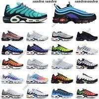 discover tn plus mens running shoes triple white black multi hyper blue men women trainer sports sneakers size 36-45