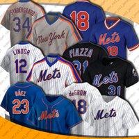 Mets 23 Javier Báez Baez Jersey Neue 12 Francisco Lindor Hemden Baseball York Pete Alonso Jacob Degrom Mike Piazza James McCann Marcus Stroman