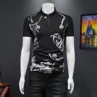2021 verão mercerizado pique tendência de tendência de impressão polo camisa magro masculina lapela de manga curta t-shirt