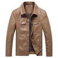 Мужские куртки Kimsere Мужская повседневная кожа 2021 осень из искусственного мехового куртка Верхняя одежда для мужского PU Размер одежды M-4XL Поверните воротник