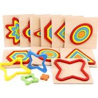1pcs Baby Education Cognition Cognition En Bois Jouets Géométrie Enseignement Enseignement SIDA Bâtiment Blocs Jouets Jigsaw Puzzle
