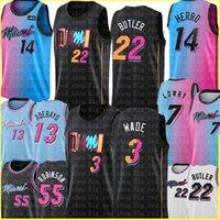 Jimmy 22 Butler Dwyane 3 Wade Jersey New Kyle 7 Lowry Basketball Trikots Tyler 14 Herro Bam 13 Adebayo Duncan 55 Robinson Schwarz Blau Weiß Rot 2021