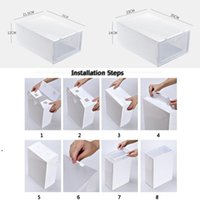 새로운 두꺼운 명확한 플라스틱 신발 상자 방진 구두 저장 상자 플립 투명 구두 상자 사탕 컬러 쌓을 수있는 신발 주최자 상자 DBC EWF2