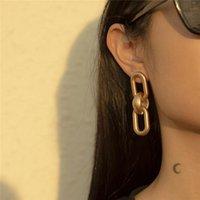 BUTH Koreanische Version Mode Temperament der CCB-Kette Geometrische Ohrringe Weibliche High-End-elegante kalte Kälte-ovale Verriegelung