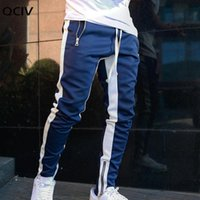 Men Jogger Pants Casual Zipper Sports Running Fitness Trouse...