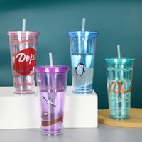 Mugs Glitter Tumbler Acrylic Cups Double Wall Insulated Matte Plastic With Straws Student Water Bottle Cup Gift