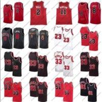2 Lonzo Ball Zach 8 Lavine Basketball Jersey Derrick 1 Rose 11 DEMAR DEROZAN MENS 23 Dennis 91 Rodman Scottie 33 Pippen Red White Black Stripe Shirt