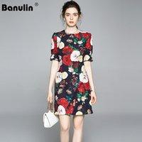 Banulin 2021 Lüks Pist Yaz Vintage Jakarlı Kısa Elbise kadın Moda Boncuklu Elmas Çiçek Baskı Siyah Mini Dressess Rahat Dresse