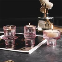 촛불 홀더 노르딕 핑크 유리 촛대 유럽 촛불 테이블 스탠드 낭만적 인 발 포 퍼 홈 장식 rra9610