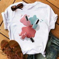 Frauen T-Shirt Mode Streetwear Bunte Nagellack T-shirt Frauen Rundhals Kleidung Sommer Tops T-Stück Weibliche Vogue Lustige Hemden