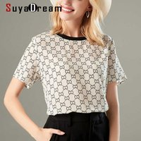 SuyaDream Женщины футболка 100% Настоящий Шелковый Крепежный Письмо Печать Рубашка с короткими рукавами Повседневная вязка o Шея футболка Летняя точка 210603