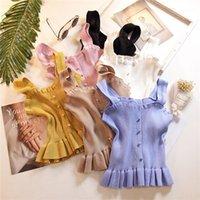 Женщины вязание оборманы кнопки обрезанные танки Топы женские девушки трикотажные сладкие шикарные футболки Camis Crop Top1
