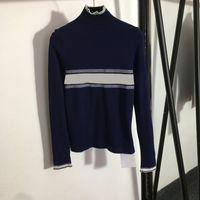 Baroque Letter Jacquard Women T-Shirt Luxury Elastic Knit Shirts 2 Colors Slim Warm Lady Brand Tops
