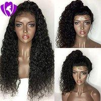 Vente en gros Naturel Soft Naturel Look Black Long Long Kinky Burly Perruques Brésiliennes Perruques de la dentelle pleine dentelle Synthétique Cheveux pour femmes noires