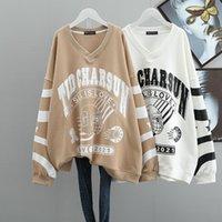 Женские толстовки толстовки 2021 осень свободно негабаритные простой серый свитер корейский повседневный стиль уличного стиля V-образным вырезом хлопок