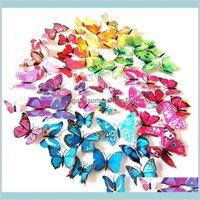 Wall Stickers Home Décor & Garden 12Pcs 3D Butterfly Sticker Fridge Magnet Removable Diy Art Decor Crafts Magnets For Nursery Classroo