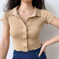 Women's T-Shirt Simple Slim Neck Knitted Short Sleeve Female Lapel Lace Cardigan Cotton Button White Top Kawaii Clothes
