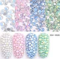Çok Boyutlu SS4-SS20 Opal Tırnak Rhinestones Düz Alt Renkli Kristal Cam Taşlar DIY UV Jel 3D Nail Art Süslemeleri Için