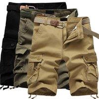 Men's Shorts Summer Multi-pocket Mens Casual Pure Cotton Loose Camo Knee-length Cargo Plus Size 42 44 0YVU
