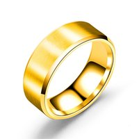 ring Double beveled stainless steel smooth RING 8MM drawn matte titanium