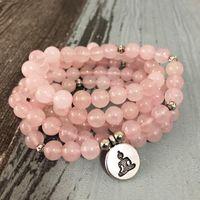 Tennis Women Buddha Yoga Pink Bracelet 108 Rosequartz Natural Stone Mala Bracelets Ladies Lotus