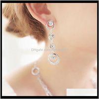 Jewelrywomen Fashion Jewelry Earring Crystal Stone Bridal Earrings Elegance Gold Sier Round Pendant Stud Ps2894 Drop Delivery 2021 Vpj4T