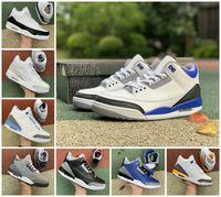 Top Calidad UND RED BLANCO BLANCO COMENTO VAGETY ROYAL MENS RACER AZUL 3 Zapatos de baloncesto 3S Fragmento de naranja láser Katrina Georgetown Hombres Zapato deportivo