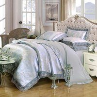 Bedding Sets Lace Embroidered Jacquard Satin Europea Set Quilt Duvet Cover Bed Sheet Pillowcases King Size Home Queen Textile
