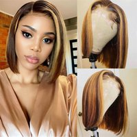 Lace Wigs 13X4 Highlight Front Bone Straight Human Hair Honey Blonde Brown 180 Density Ombre Bob 4x4 Closure Wig