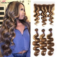 Ishow Transparent Lace Frontal Highlight Human Hair Bundles with Closure Brazilian Body Wave 3 4 Pcs Peruvian Straight Malaysian for Women 8-28inch Ombre Color